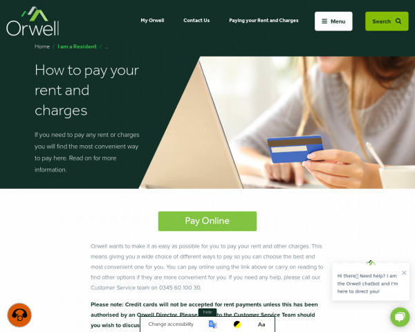 Screenshot of How to pay your rent and charges | Orwell Housing