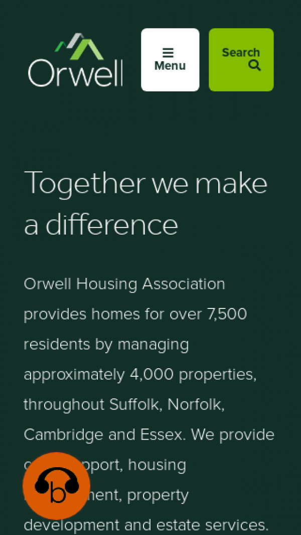 Mobile screenshot of Orwell Housing Association Limited website
