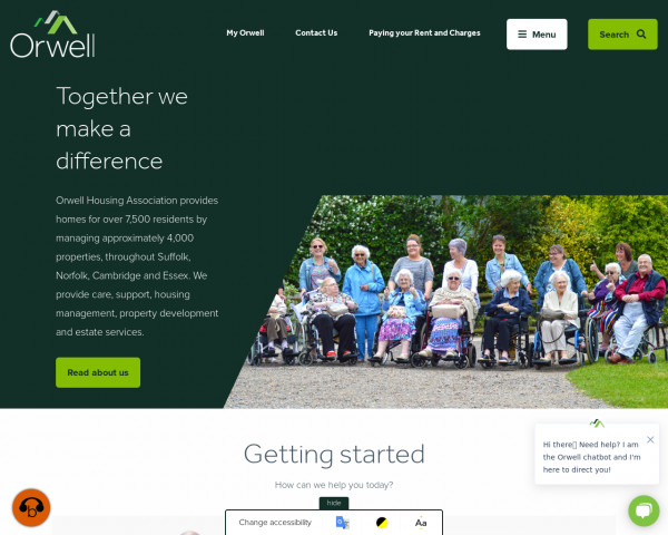 Desktop screenshot of Orwell Housing Association Limited website
