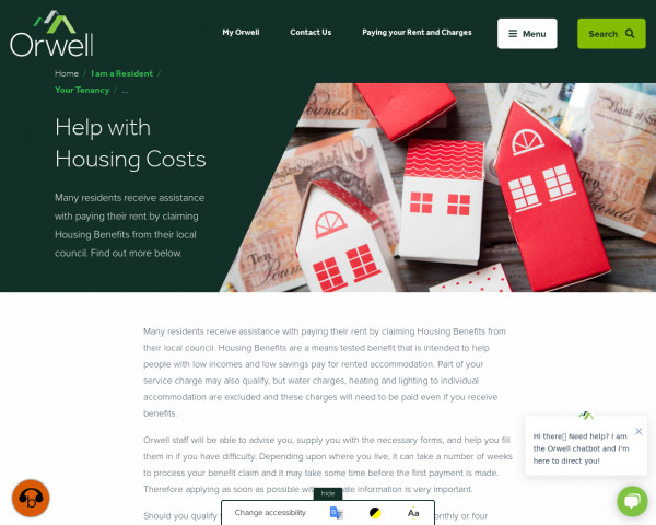 Screenshot of Help with Housing Costs | Orwell Housing