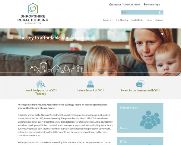 Desktop screenshot of Shropshire Rural Housing Association Limited website