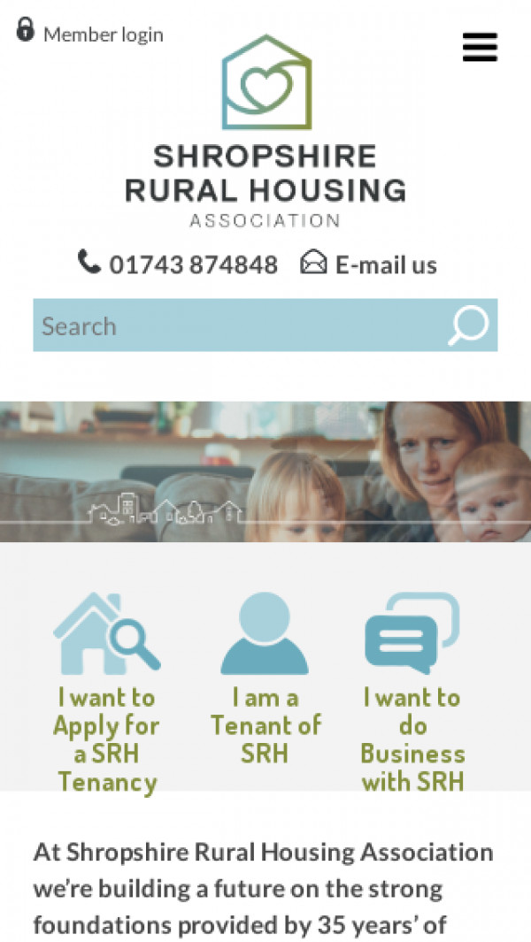 Mobile screenshot of Shropshire Rural Housing Association Limited website