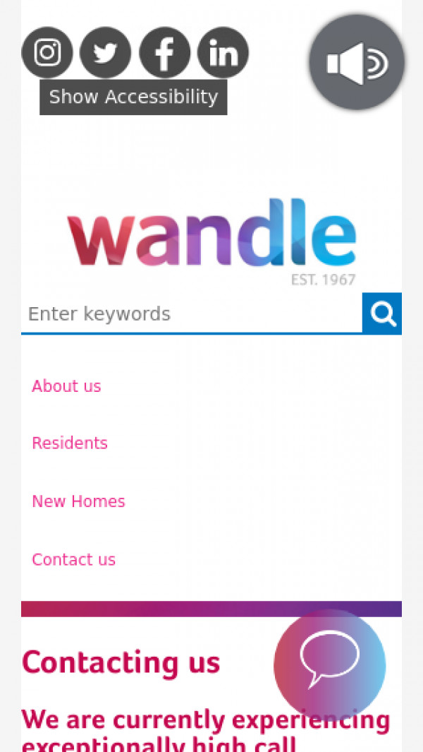 Mobile screenshot of Wandle Housing Association Limited website