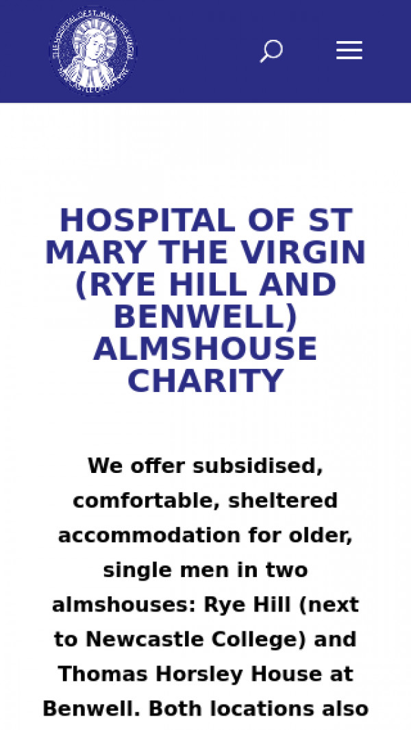 Mobile screenshot of Hospital of St Mary The Virgin (Rye Hill & Benwell) website