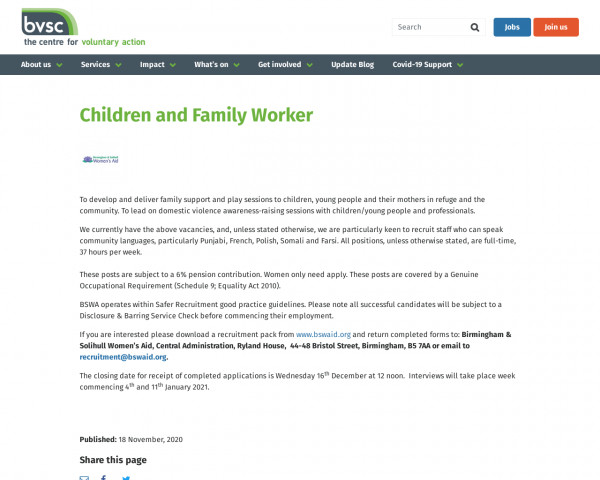Screenshot of Children and Family Worker | Birmingham Voluntary Service Council