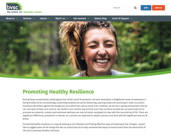 Screenshot of Promoting Healthy Resilience | Birmingham Voluntary Service Council
