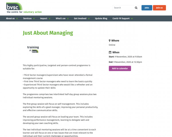 Screenshot of Just About Managing | Birmingham Voluntary Service Council
