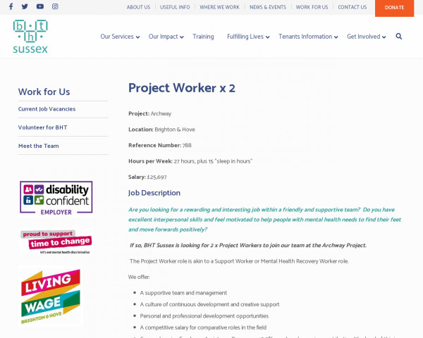 Screenshot of Project Worker x 2 - BHT Sussex