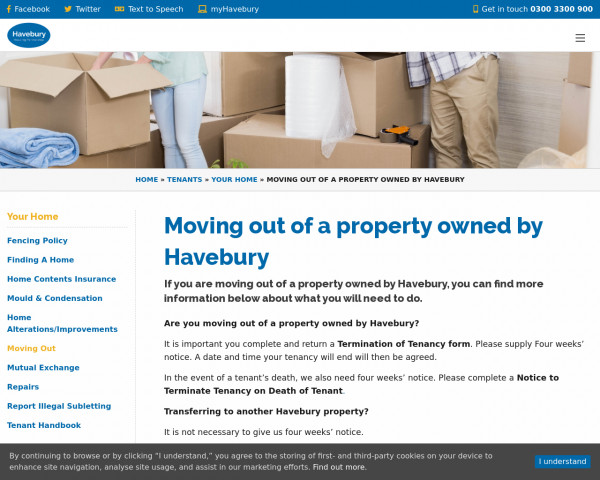 Screenshot of Moving out of a property owned by Havebury | Havebury Housing