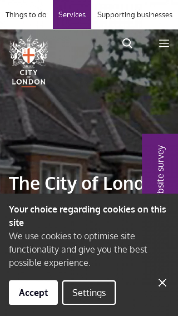 Mobile screenshot of The City of London Almshouses website