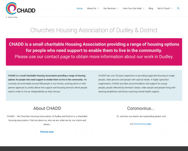 Desktop screenshot of Churches Housing Assocation of Dudley and District Limited website