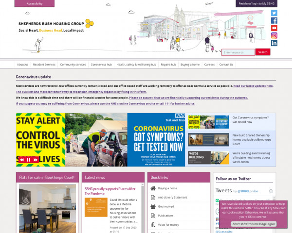 Desktop screenshot of Shepherds Bush Housing Association Limited website