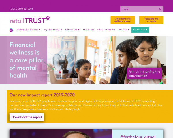 Desktop screenshot of Retail Trust website
