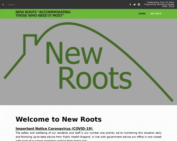 Desktop screenshot of New Roots Limited website