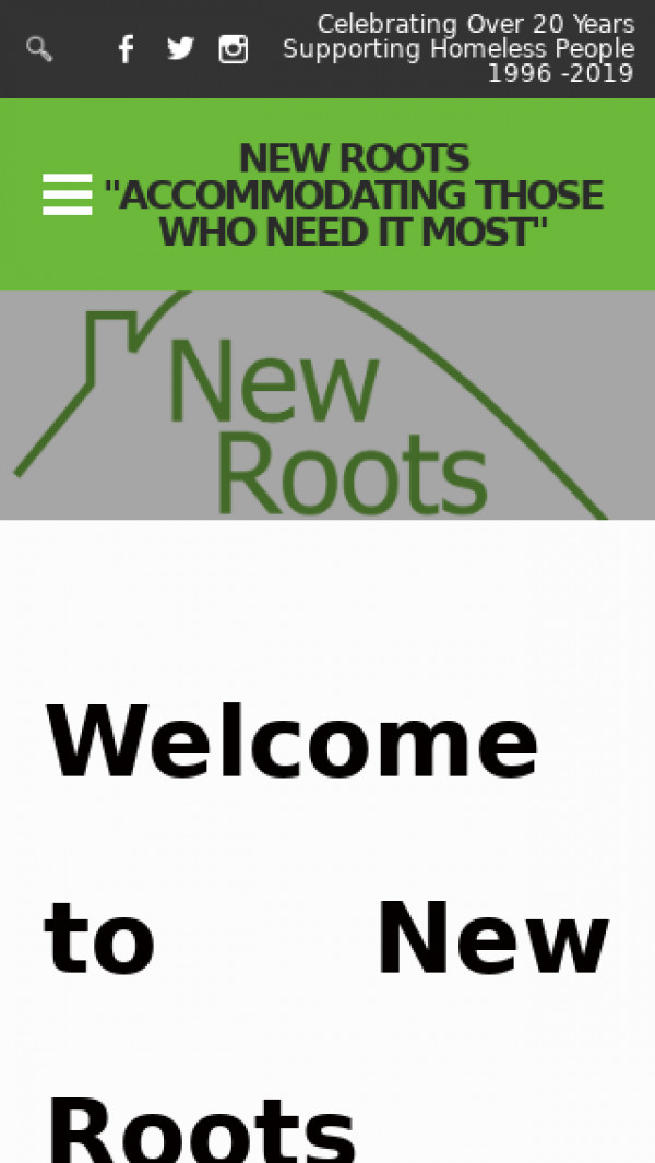Mobile screenshot of New Roots Limited website