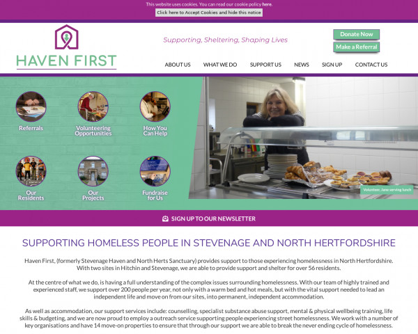 Screenshot of Haven First: Supporting, Sheltering, Shaping Lives