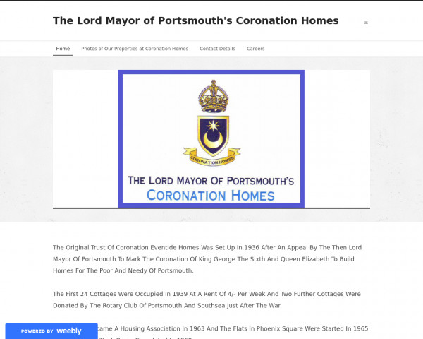 Desktop screenshot of Lord Mayor of Portsmouth's Coronation Homes Ltd. website