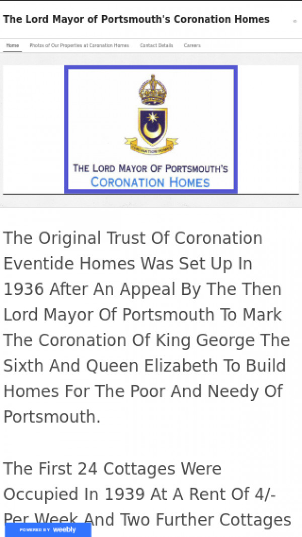 Mobile screenshot of Lord Mayor of Portsmouth's Coronation Homes Ltd. website