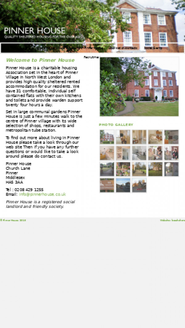 Mobile screenshot of Pinner House Society Limited website
