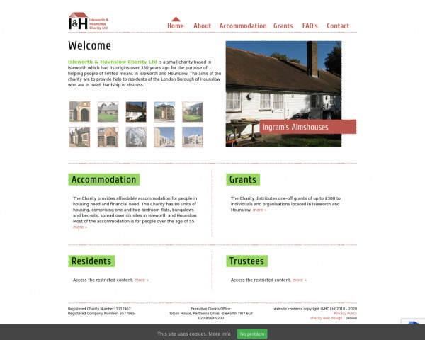 Desktop screenshot of Isleworth and Hounslow Charity Limited website
