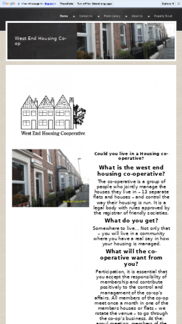 Mobile screenshot of West End Housing Co-operative Limited website