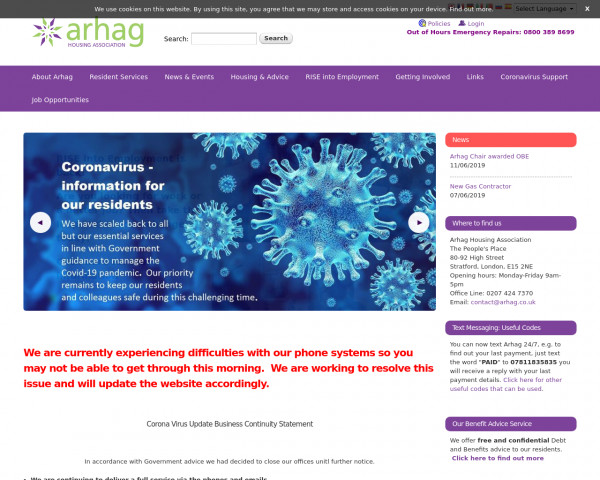 Desktop screenshot of Arhag Housing Association Limited website