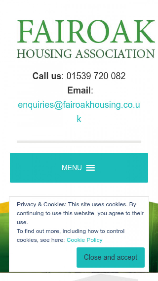 Mobile screenshot of Fairoak Housing Association website