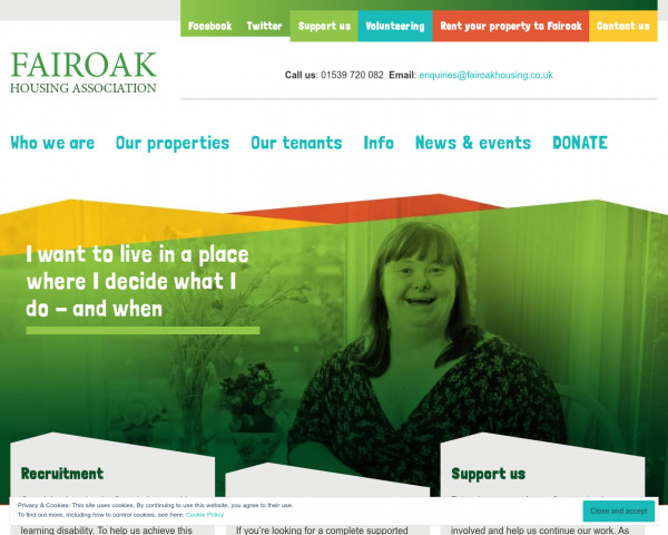 Screenshot of Fairoak Housing Association – High quality supported accommodation for people with learning and other disabilities