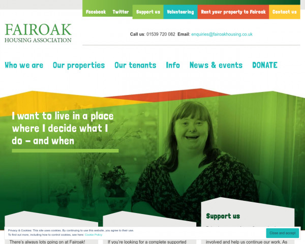 Desktop screenshot of Fairoak Housing Association website