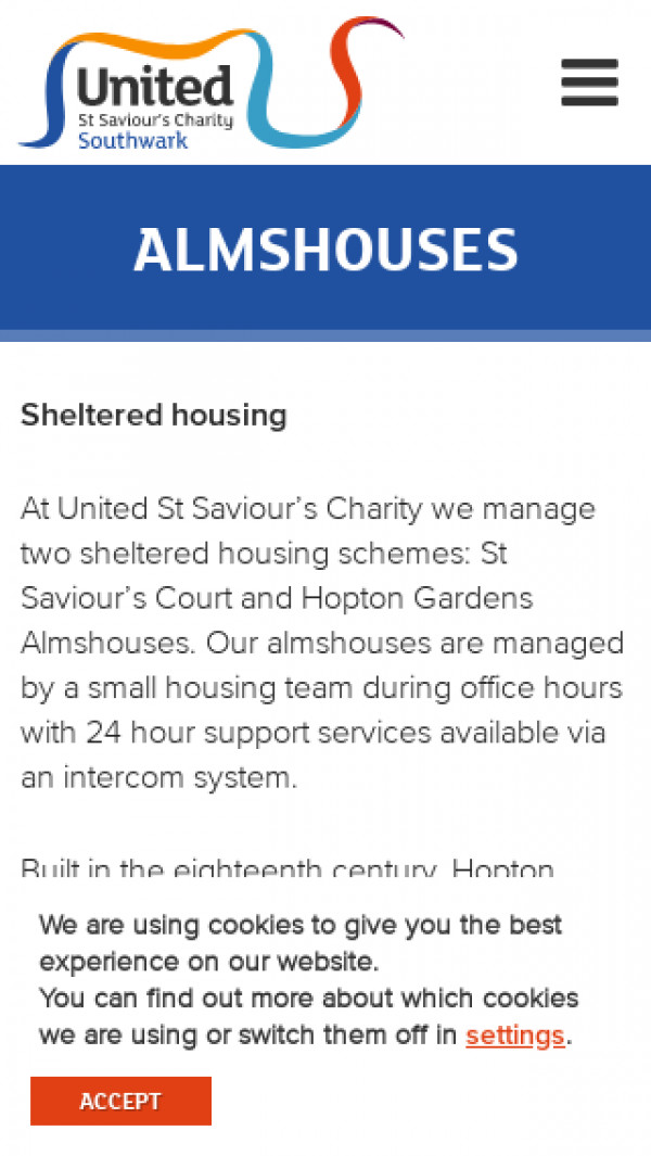 Mobile screenshot of United St Saviour's Charity website