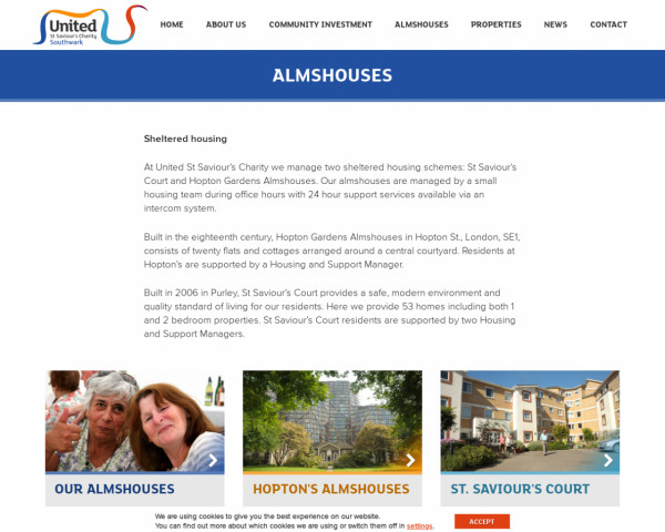 Desktop screenshot of United St Saviour's Charity website