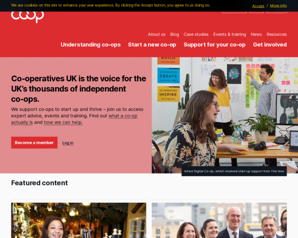 Desktop screenshot of Co-operatives UK website