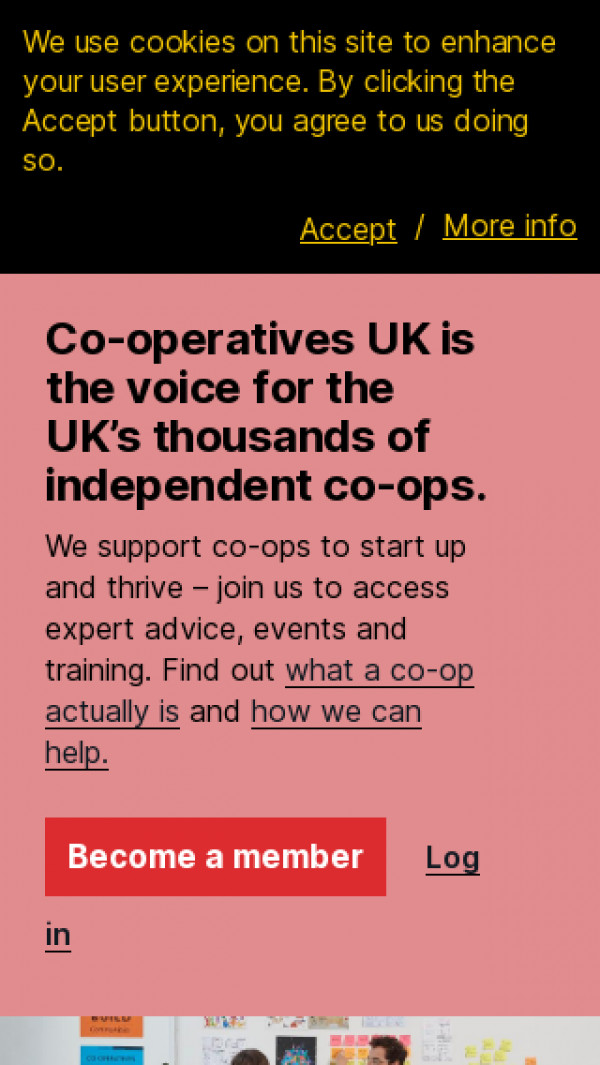 Mobile screenshot of Co-operatives UK website
