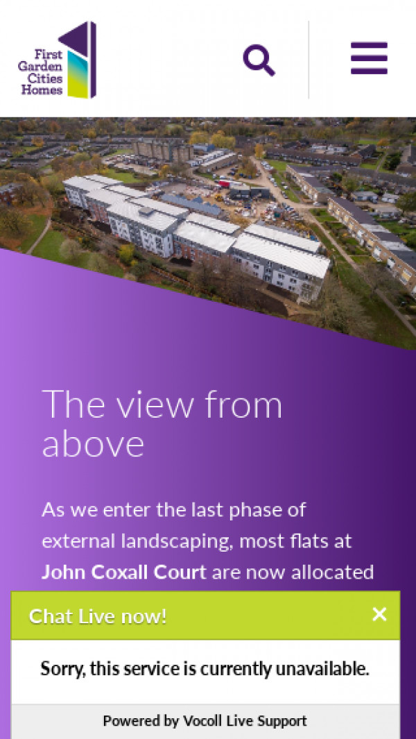 Mobile screenshot of First Garden Cities Homes website