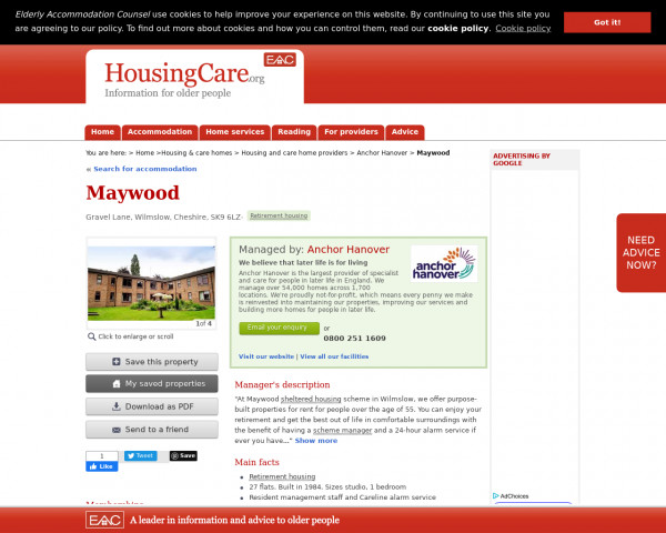 Screenshot of Maywood, Macclesfield, Cheshire, SK9 6LZ | Sheltered housing, retirement housing, supported housing for older people