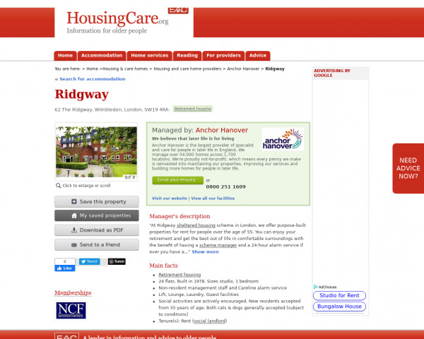 Screenshot of Ridgway, Merton, Greater London, SW19 4RA | Sheltered housing, retirement housing, supported housing for older people