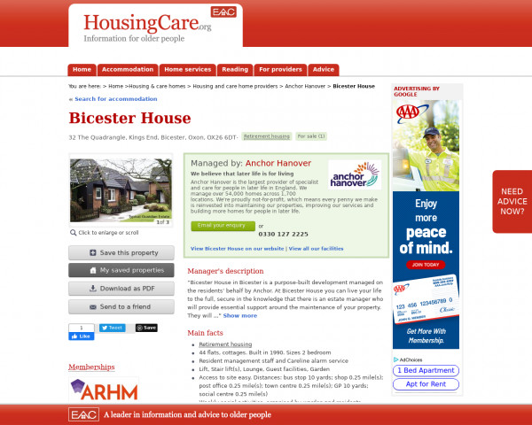Screenshot of Bicester House, Cherwell, Oxfordshire, OX26 6DT   For sale   Sheltered housing, retirement housing, supported housing for older people