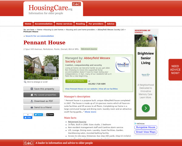 Screenshot of Pennant House, Poole, Dorset, BH14 9PG | Sheltered housing, retirement housing, supported housing for older people