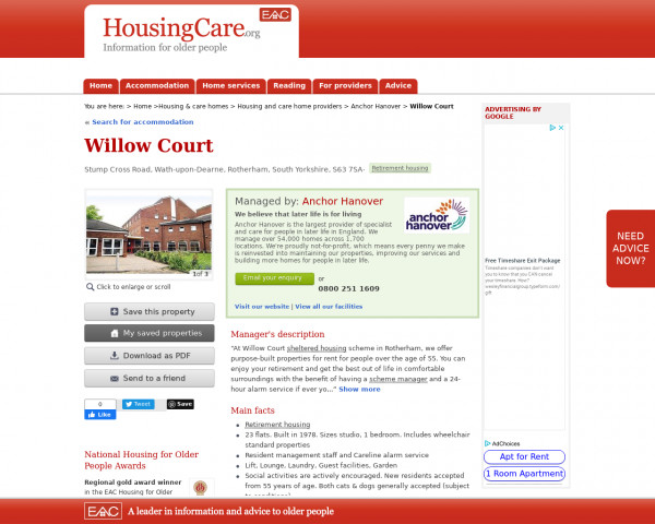 Screenshot of Willow Court, Rotherham, South Yorkshire, S63 7SA | Sheltered housing, retirement housing, supported housing for older people