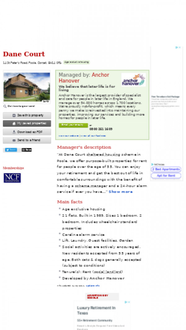 Screenshot of Dane Court, Poole, Dorset, BH14 0PA | Amenity housing, unsupported housing for older people