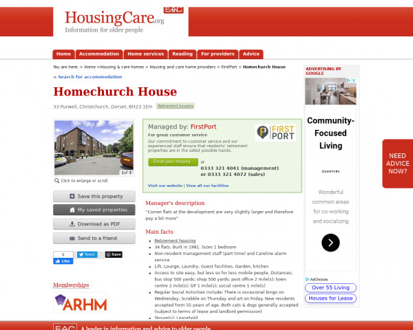 Screenshot of Homechurch House, Christchurch, Dorset, BH23 1EH | Sheltered housing, retirement housing, supported housing for older people