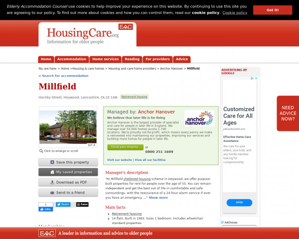 Screenshot of Millfield, Rochdale, Greater Manchester, OL10 1AB | Sheltered housing, retirement housing, supported housing for older people