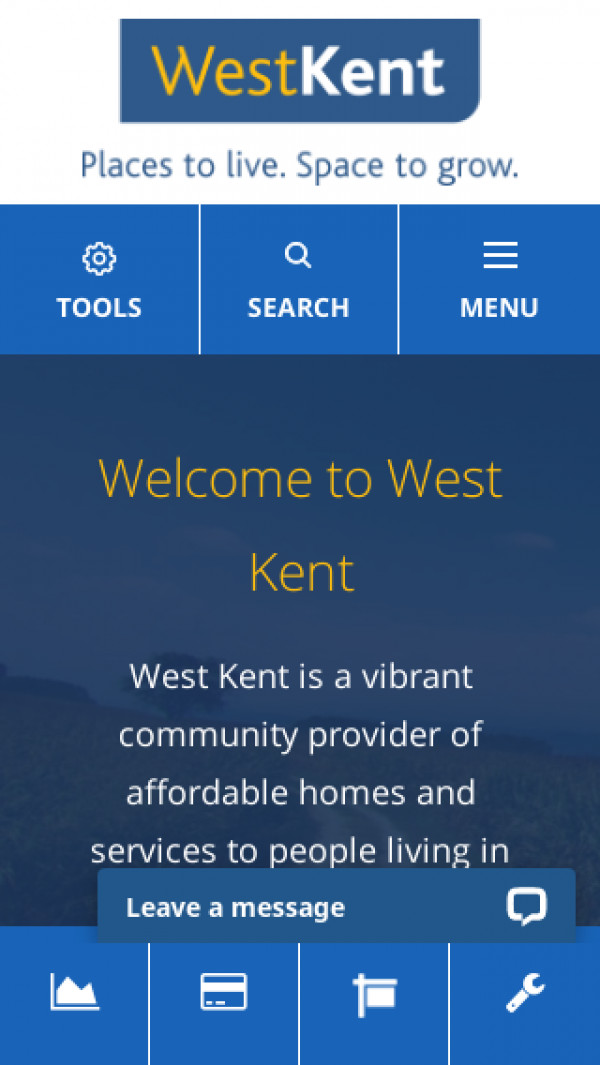 Mobile screenshot of West Kent Housing Association website
