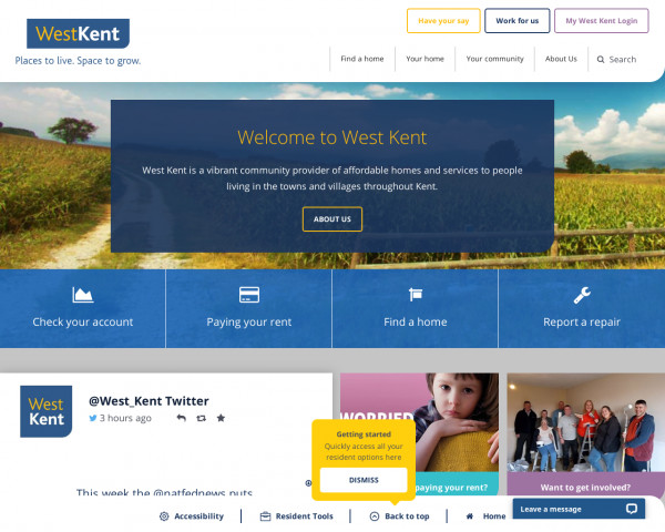 Desktop screenshot of West Kent Housing Association website