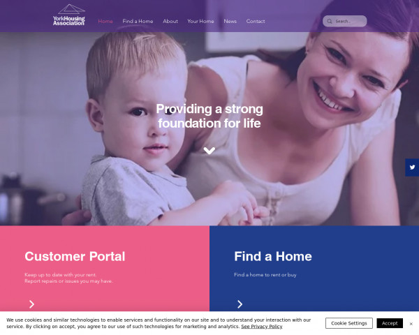 Screenshot of Homes to Rent or Buy | York Housing Association | Yorkshire