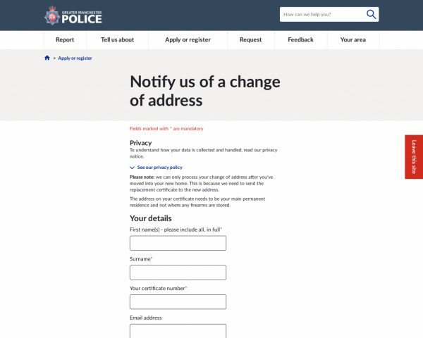 Screenshot of Notify us of a change of address | Greater Manchester Police