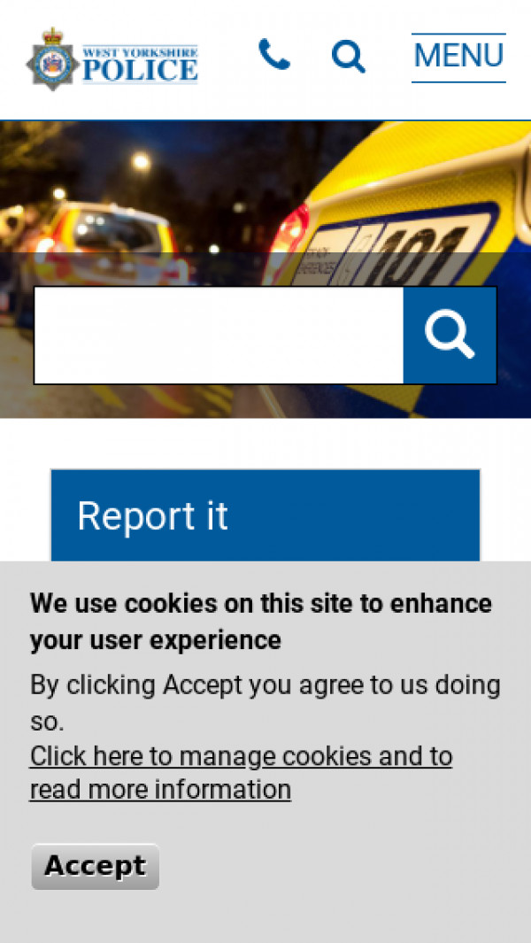 Mobile screenshot of West Yorkshire Police website