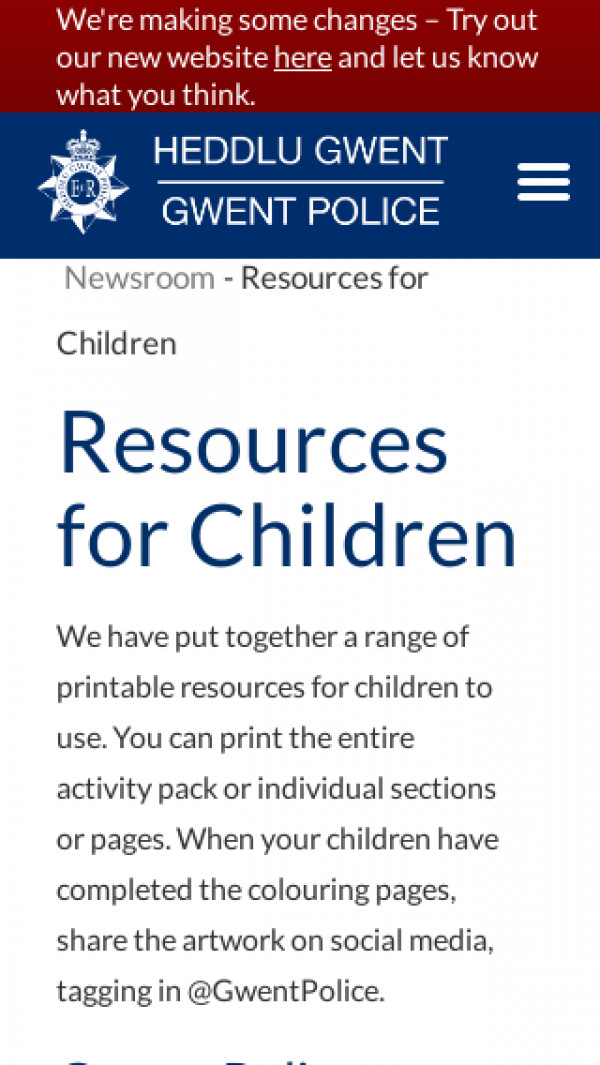Screenshot of Resources for Children | Gwent Police