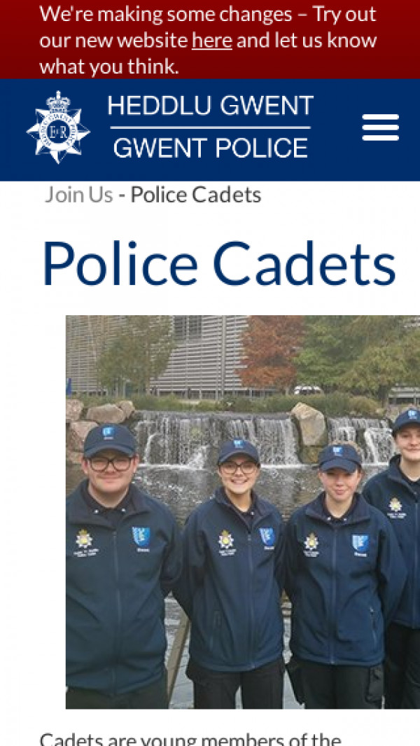 Screenshot of Police Cadets | Gwent Police