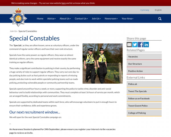 Screenshot of Special Constables | Gwent Police